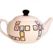 Scrabble Teapot right side