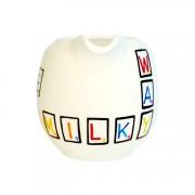 Scrabble milk jug – front